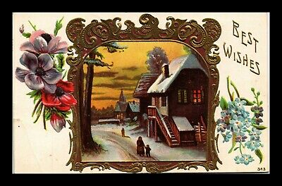 Dr Jim Stamps Us Best Wishes Winter Scene Topical Embossed Greetings Postcard