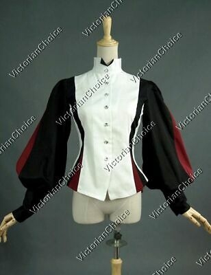 Victorian Pirate Equestrian Balloon Sleeve Blouse Shirt Halloween Costume B024 M