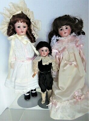 3 Antique Bisque Dolls S & H 1909 boy, Armand Marseille 1902, Germany 975 Fixers