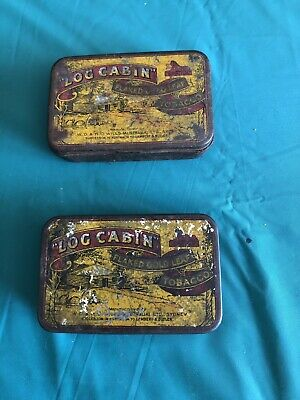 Vintage 2oz Log Cabin Sydney W.D H O Wills Tabacco Tins X2  Condition Is Used