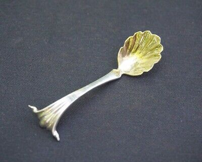 Cartier Sterling Silver Salt Spoon Gold Washed Shell Style
