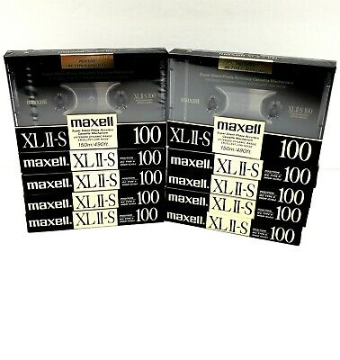 Maxell XLII-S 100 Blank Cassette Tapes Type II High Bias Lot of 10 New Sealed