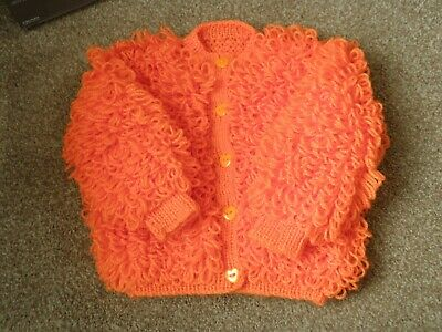 Baby Loopy Cardigan in Orange to fit 12-18 months