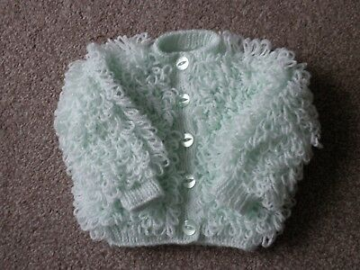 Baby Loopy Cardigan in Pale Green 0-6 months