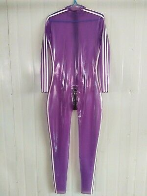 100%Latex Catsuit Rubber Anzug Gummi Purple White Ganzanzug Crotch Zip0.4mmS-XXL