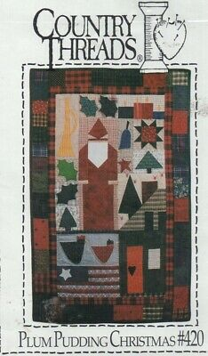 Country-style quilt/applique pattern. 'Plum Pudding Christmas' wall quilt.