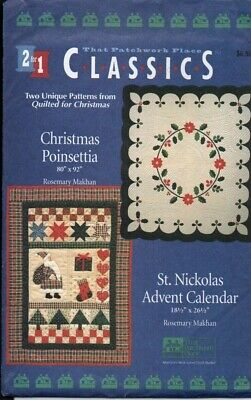 2 Christmas Quilting patterns. St Nickolas Advent Calendar and Christmas Poinset