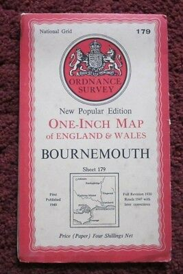 Bournemouth  - Ordnance Survey One-Inch Map . Sheet 179  , 1947    #