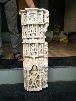 Ancient Hand Carved Marble Stone Hindu Religious Temple God Statue Pillar Rare
