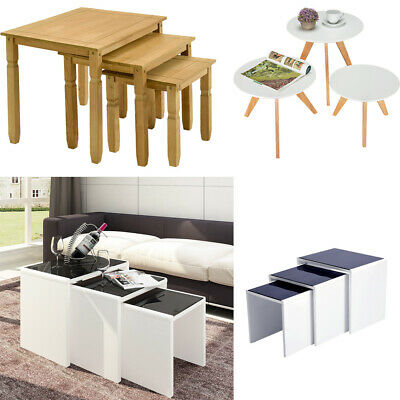 Modern Coffee Table/ Side End Tables Tempered Glass Wood Living Room Home 3 PCS