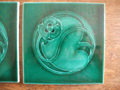 PAIR BEAUTIFUL ART NOUVEAU TILES BY MARSDEN TILE Co. LTD (1888-1908) RELIEF-MOLD