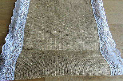 MASSIVE REMNANT Lace Edged Burlap Table Runner/Banner - 35cm Wide x 1.8M
