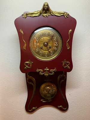 ANTIQUE Swiss LARGE  WALL CLOCK Pendulum jungstil with mahogany wood 1910-1920s