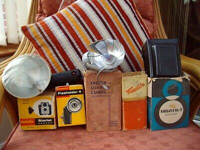Collection Of Vintage Camera Packaging & Accessories: Boxes,Flashes etc Nice Lot