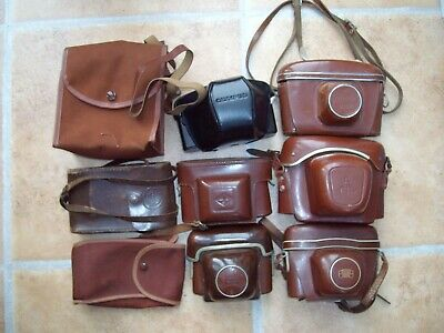 Collection Of 9 Vintage Camera Cases: Zeiss Ikon, Agfa, Kiev, Olympus, Ensign