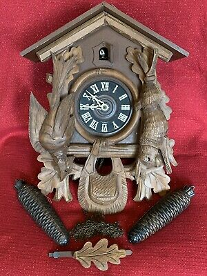 Lg.Antique 8 DAY Black Forest Cuckoo Schmeckenbecher Clock West German Germany