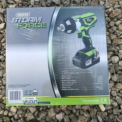 Genuine Draper Storm Force Cordless Impact Wrench & Sockets / Charger 20V 01031
