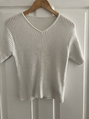 Girls Marks & Spencer White Shimmer Sweater Top Age 13-14 Years Immaculate