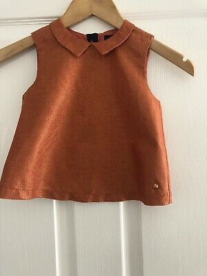 Girls Marks & Spencer Orange Sparkle Vest Top Blouse Age 4-5 Years Immaculate