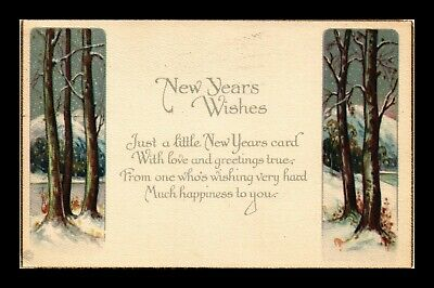 Dr Jim Stamps Us New Years Wishes Winter Scene Topical Greetings Postcard