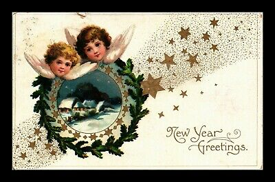Dr Jim Stamps Us Embossed Winter Scene New Year Greetings Topical Postcard