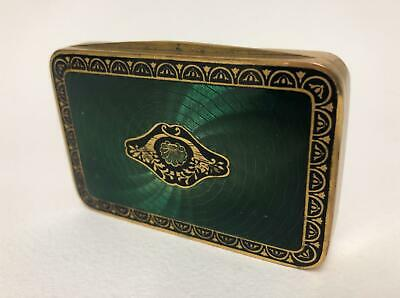 Fine Austrian Guilloche Enamel Gold Washed Box with Forest Green & Black Design