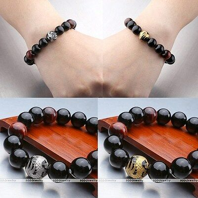 Unisex Silver Gold Dragon Black Agate Red Tiger's Eye Gems Beads Bracelet Hot