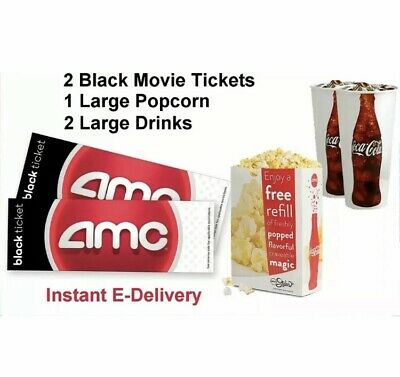 AMC Black Movie Theater Tickets (x2), Large Drinks (x2), Large Popcorn (x1)