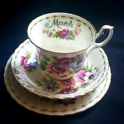 Royal Albert Flower of The Month March Trio Tea Cup Saucer and Plate.