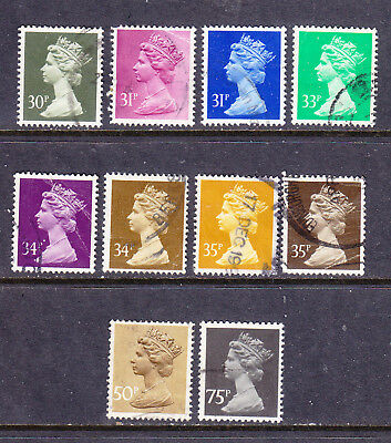 GB postage stamps - Machin defins - Non-Elliptical perfs > 29p - 10 x Used -