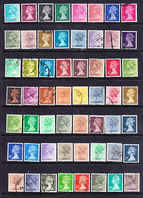 GB postage stamps - Machins - Non-elliptical Perfs - 56 x Used