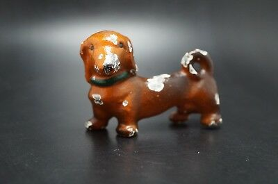 VTG Painted HUBLEY Cast Iron DACHSHUND Dog Party Favor