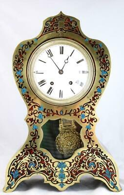 Superb XL Antique Inlaid shell & Rosewood Gong Striking 8Day Boulle Mantle Clock