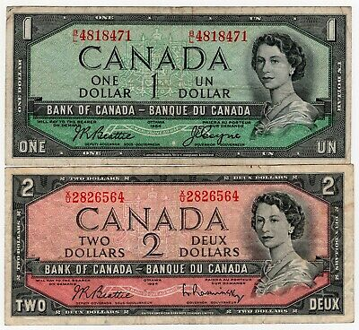 Lot Of 2 1954 Bank Of Canada One 1 And Two 2 Dollar Banknotes