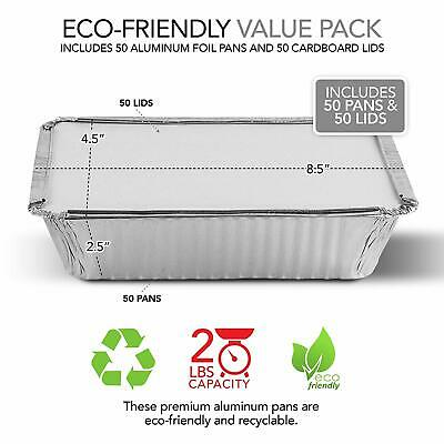 (50 Pack) 2 Lb Disposable Aluminum Foil Pans with Cardboard Covers