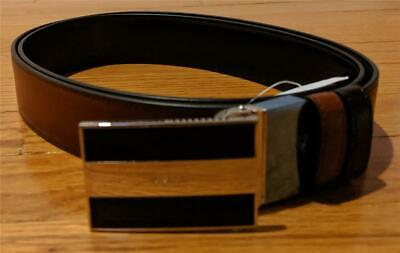 $395 Mens Bally Two-Tone Striped Buckle Leather Belt Terra Brown One Size