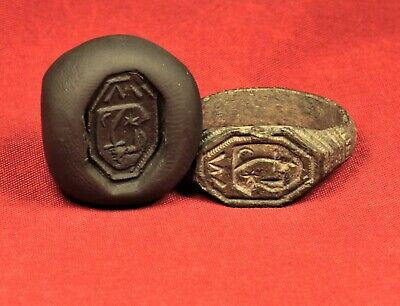 """Medieval Knight's Seal Ring 12. Century - """"M"""" Stamp"""