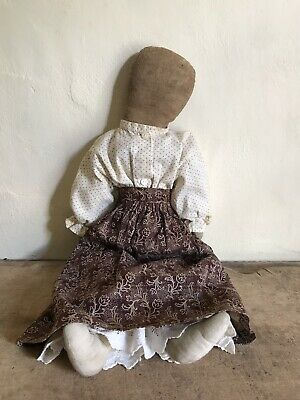 BEST BIG Rag Doll Made From All Early Antique Textiles AAFA Brown Calico Textile