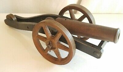 "Antique Cast Iron Signal Cannon 12"" Brass Wheels nice old vintage"