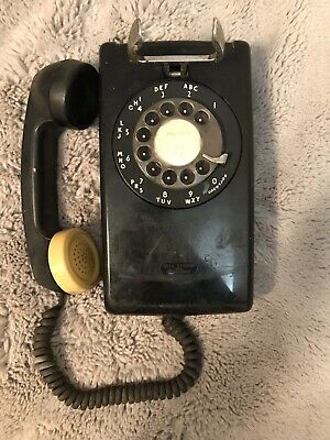 Vintage Bell System Western Electric Black Rotary Dial Wall Hanging Telephone