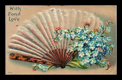Dr Jim Stamps Us Fan Flowers Fond Love Topical Greetings Embossed Postcard