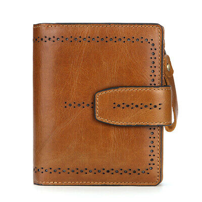RFID Lady Womens Cowhide Leather Bifold Wallet Credit Card Zipper Coin Purse