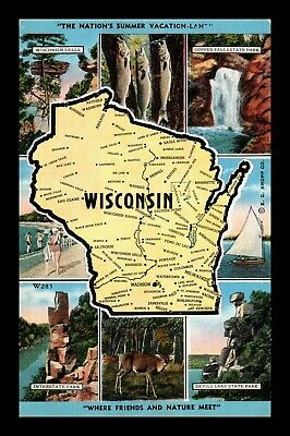 Dr Jim Stamps Us Nations Summer Vacationland Wisconsin Map Views Postcard