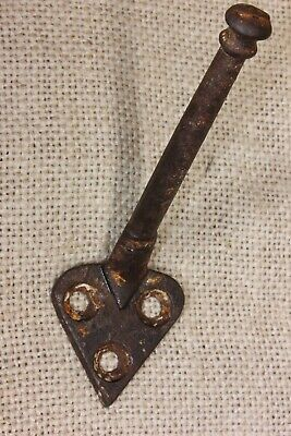 "COAT HOOK single vintage 1850's school farmhouse old rustic cast iron 4"" heart"