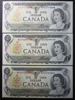 Canada 1973 $1 Dollar Bank Notes, Crisp Uncirculated, 3 Different Crow/Bouey