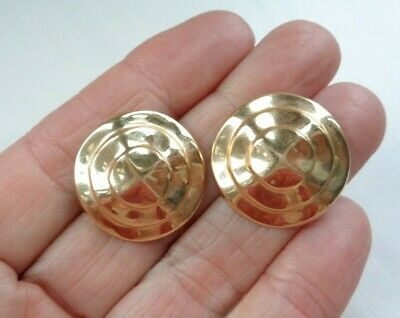 Vintage Solid 14K Yellow Gold Modernist Stacked Wave Earrings 5.04g Not Scrap