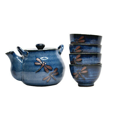 RARE Teavana Midnight Dragonfly Ceramic 5 Piece Tea Set Teapot Teacups Pottery