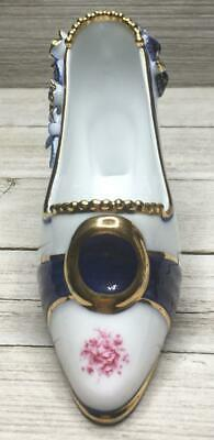 Collectible White Blue Floral Gold Trim Porcelain Victorian Style High Heel Shoe