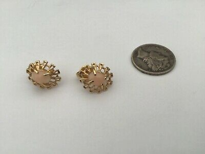 Vintage 14K Yellow Gold And Angel Skin Coral Earrings, 2.2 Grams