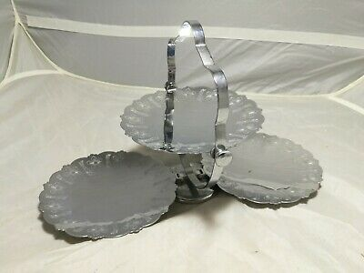 Vintage ~Folding Cake Stand ~ Chrome Metal ~ 3 Tier ~VGC